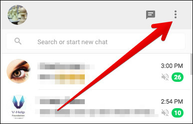 Click on Click on Vertical Ellipsis in WhatsApp Web on PC
