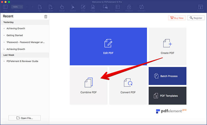Click on Combine PDF in PDFElement 6 Pro on Mac