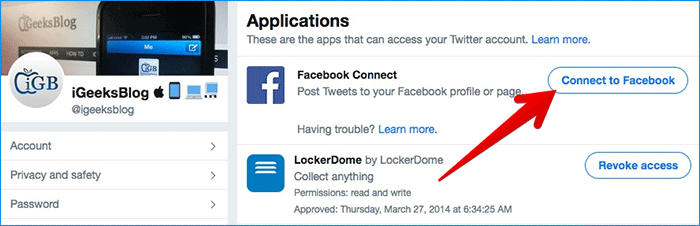 Click on Connect to Facebook in Twitter