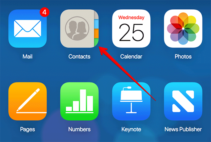 Click on Contacts in iCloud