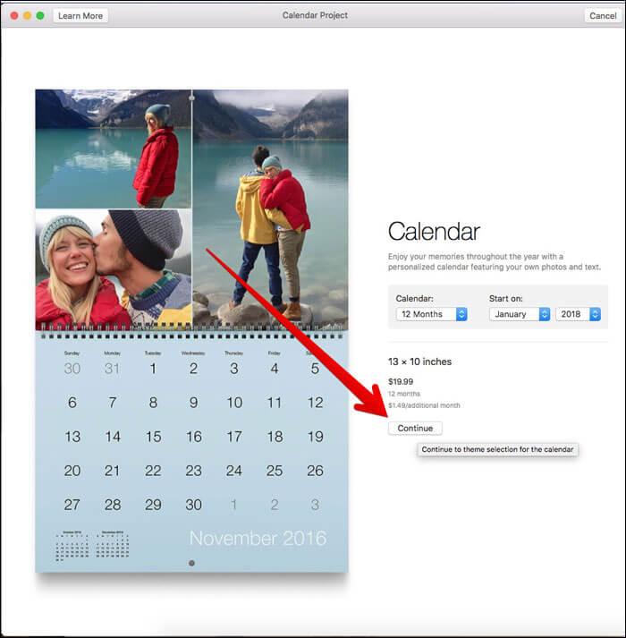 Click on Continue on Mac Photos App