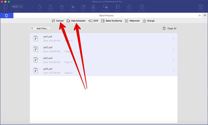 Click on Convert in Batch Process in PDFelement