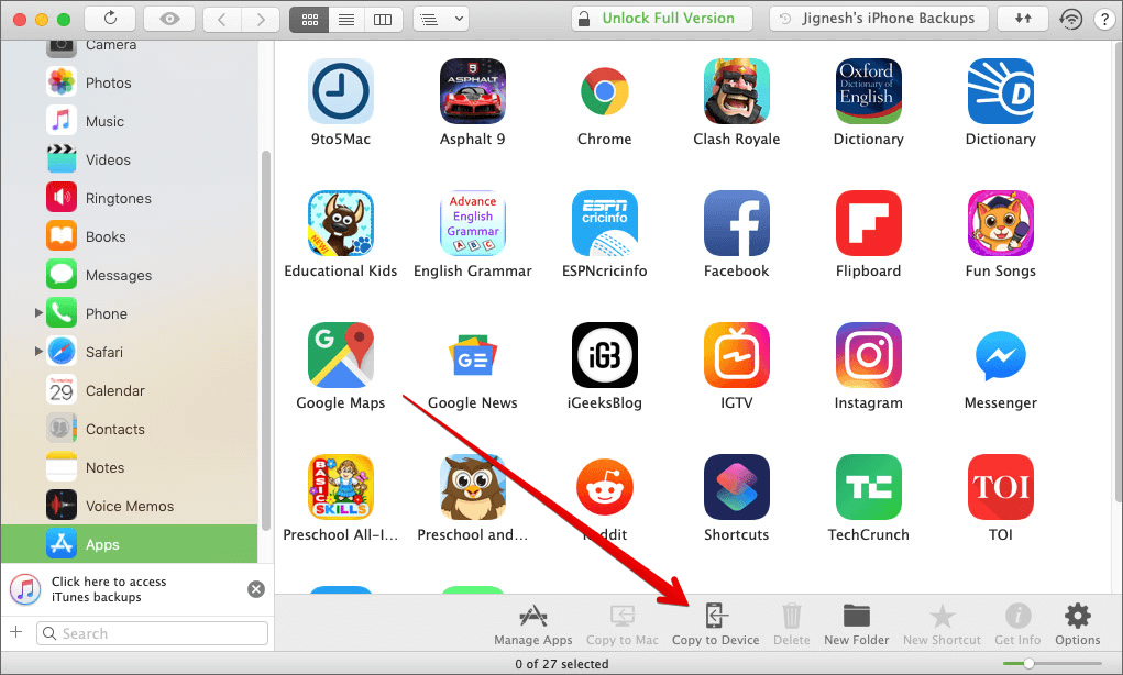 Click on Copy to Device in iMazing on Mac