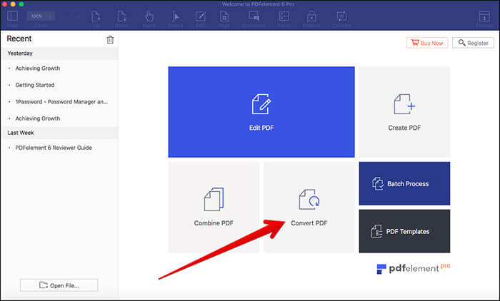 Click on Covert PDF in PDFelement