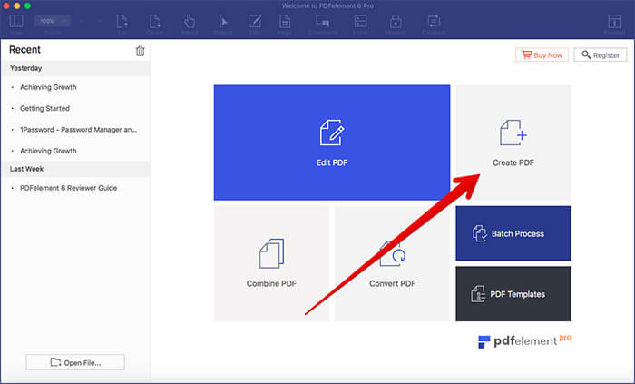 Click on Create PDF in PDFElement 6 Pro on Mac