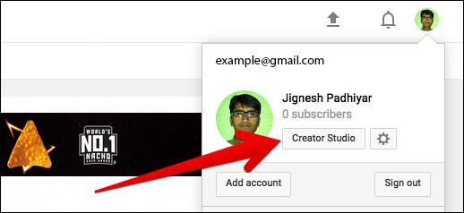 Click on Creator Studio in Youtube on Mac or Windows PC
