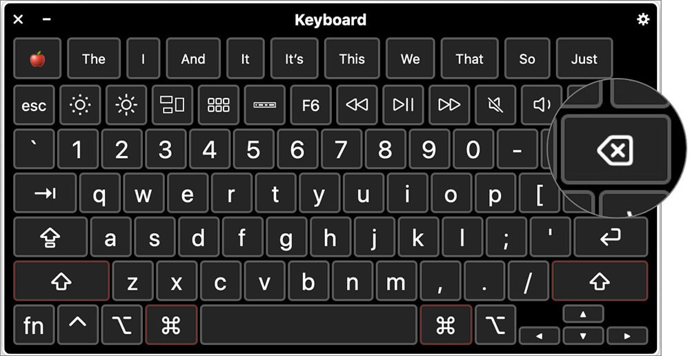 Click on Delete in Virtual Keyboard on MacBook