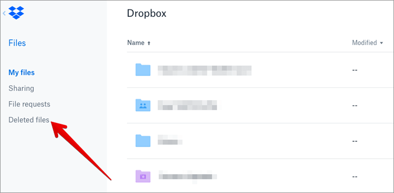 Click on Deleted Files in DropBox