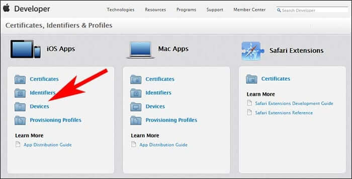Click on Devices Under iOS Apps