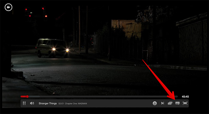 Click on Dialog Box Icon in Netflix on Mac or Windows PC