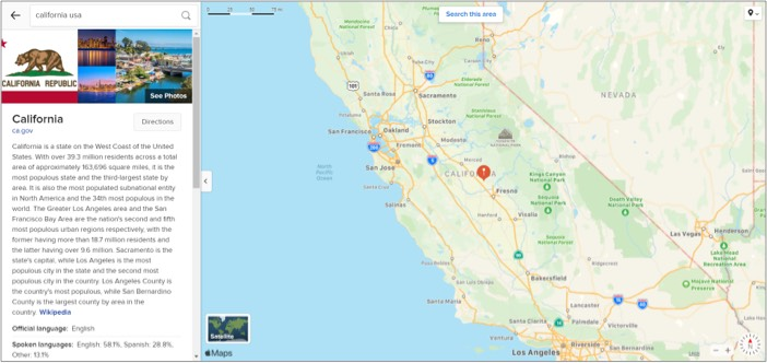Click on Directions tab in Apple Maps on Windows