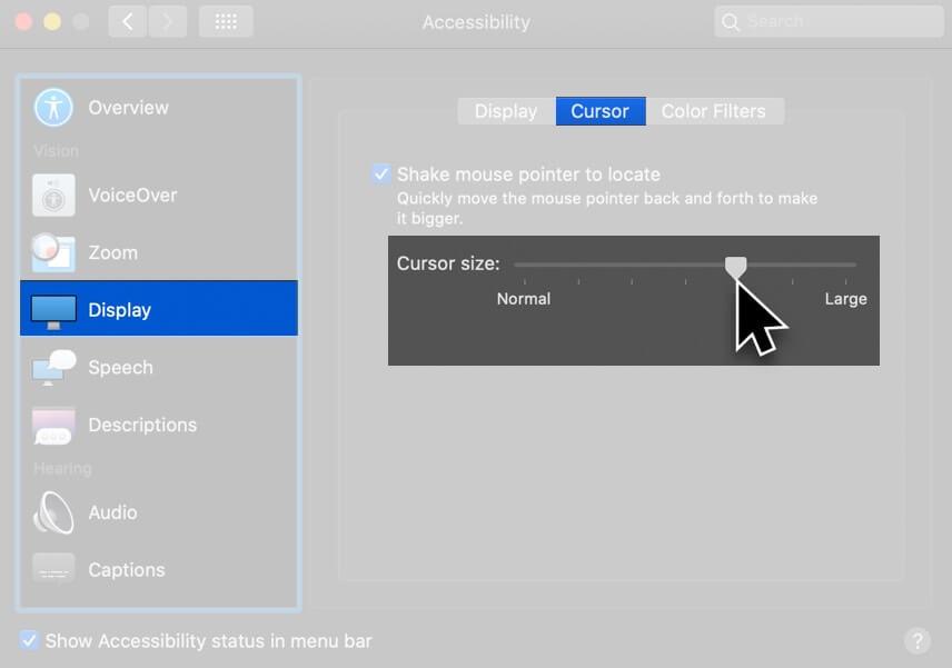 Klicken Sie in der Seitenleiste auf Anzeige in der Seitenleiste und verschieben Sie den Schieberegler für die Cursorgröße