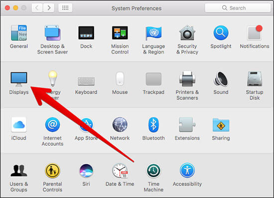 Click on Displays in Mac System Preferences