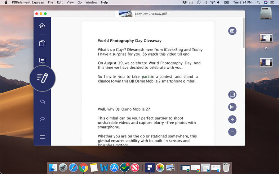 Click on Edit Button in PDFElement Express on Mac