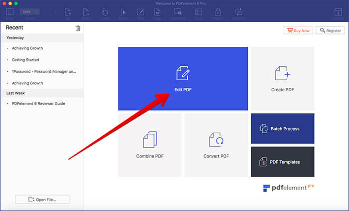 Click on Edit PDF in PDFElement 6 on Mac