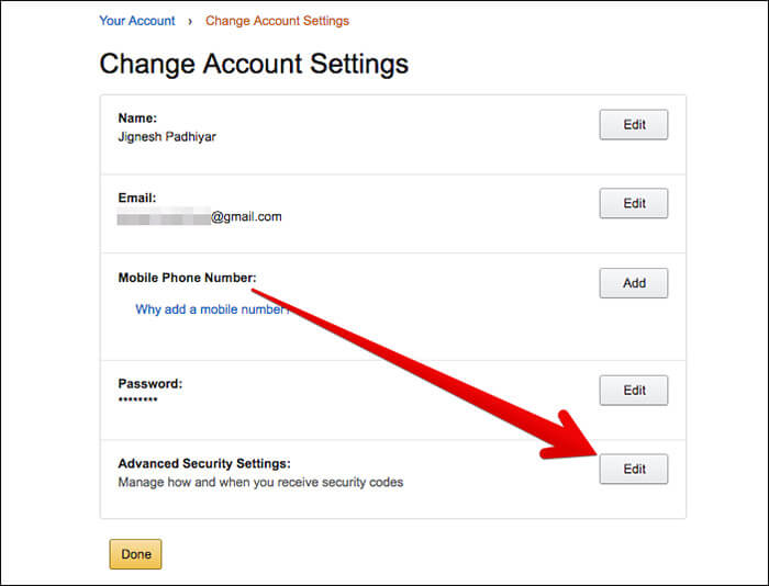 Click on Edit in Advanced Security Settings in Amazon