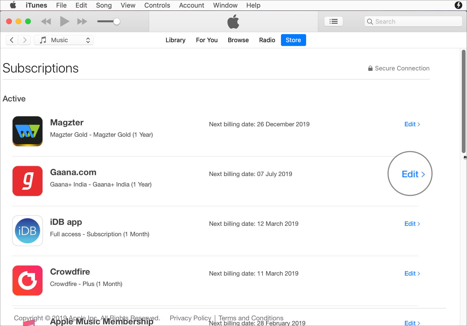 Click on Edit in Subscription in iTunes on Mac