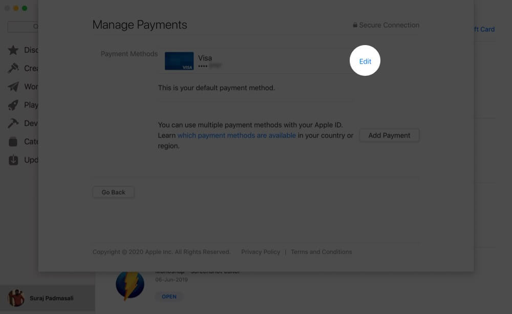 Click on Edit to Change Apple ID Payment Information on Mac