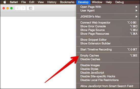 Click on Empty Cache in Safari on Mac