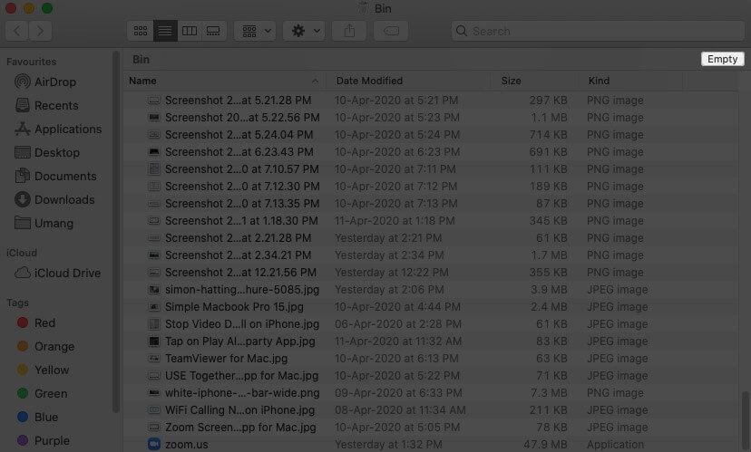 Click on Empty in Mac Bin