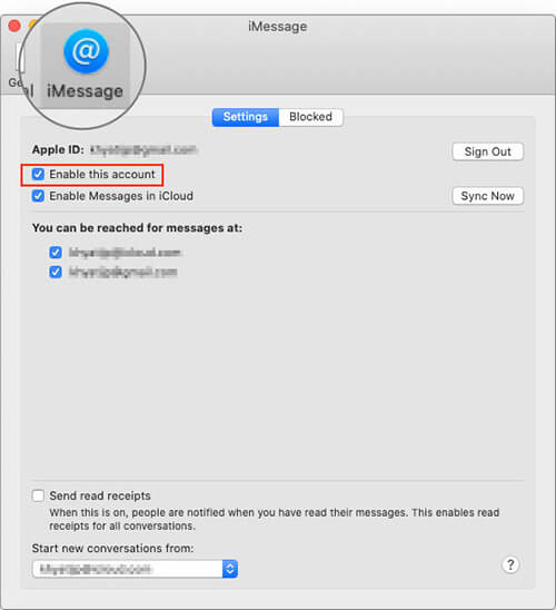 Click on Enable This Account in iMessage