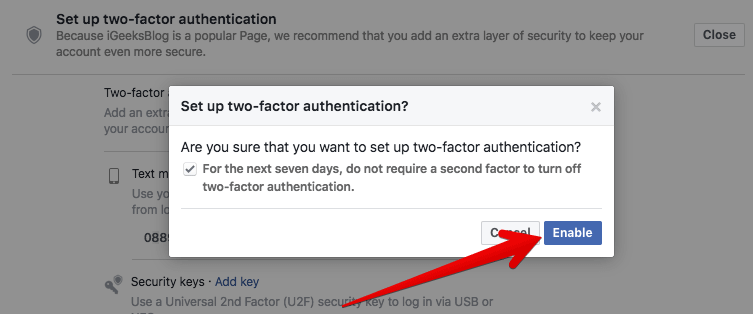 Click on Enable Two-factor Authentication in Facebook on Mac or Windows PC