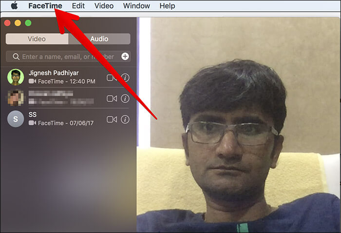 Click on FaceTime Menu on Mac