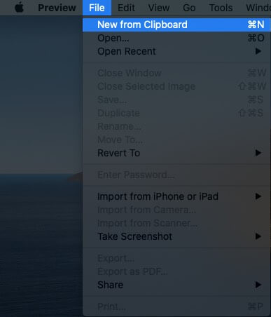 Click on File in Preview App and Then Click on New from Clipboard