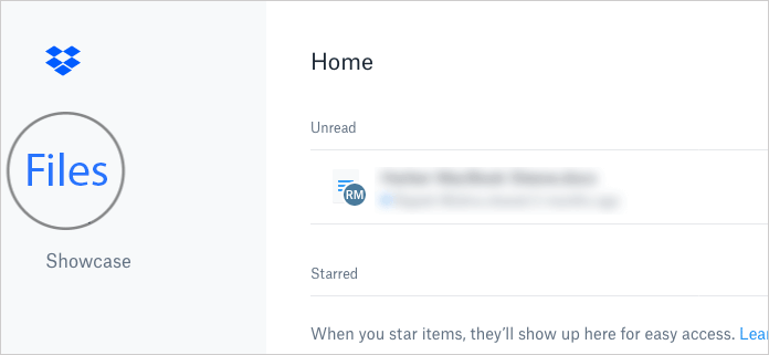 Click on Files Tab in DropBox Website