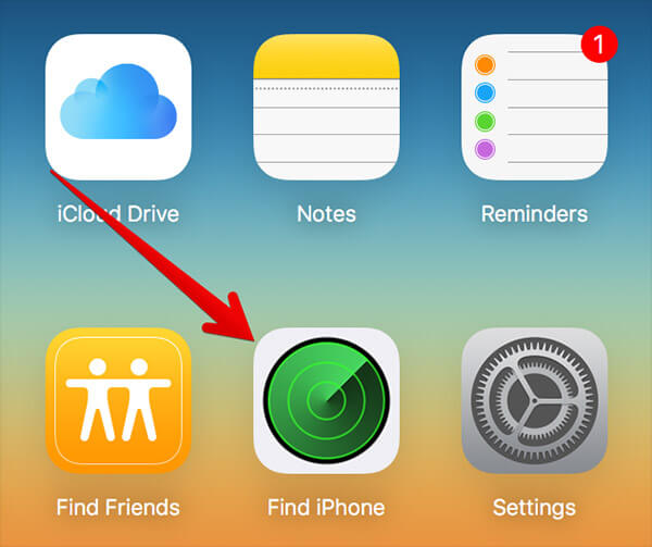 Click on Find iPhone in iCloud