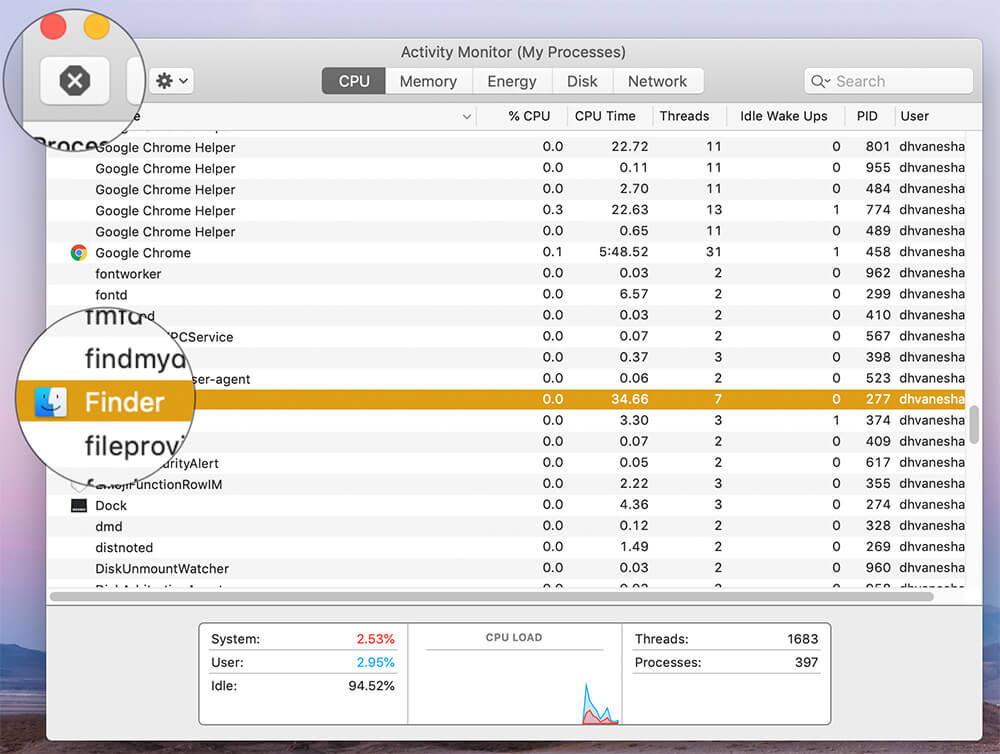 Click on Finder from the list and Click Cancel in Mac Activity Monitor app
