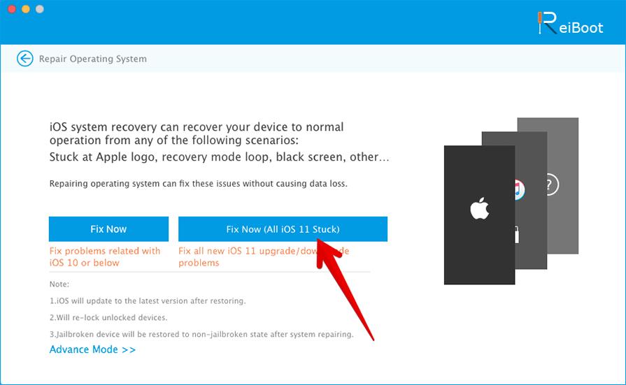 Click on Fix Now iOS 11 Stuck in ReiBoot