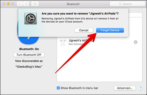 Click on Forget Device in Bluetooth Preferences on Mac
