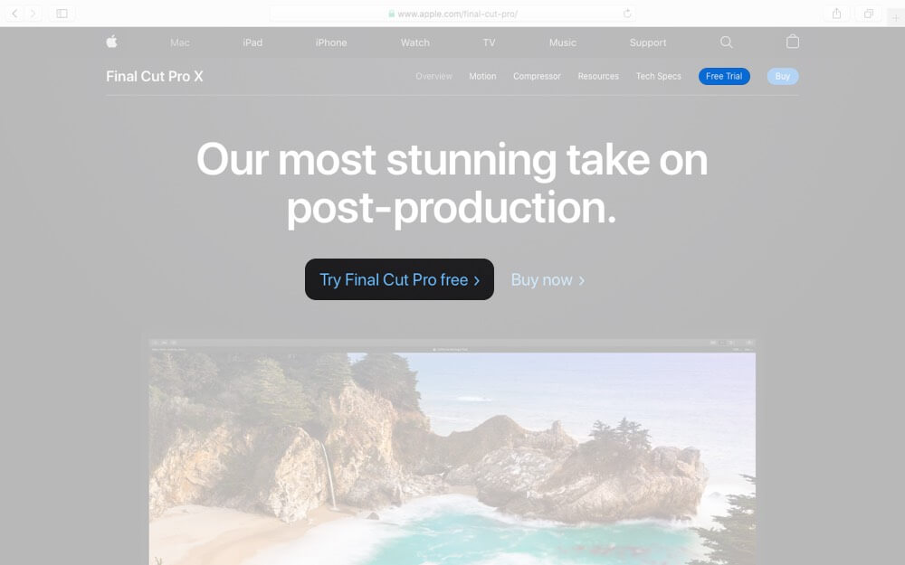 Click on Free Trial for Final Cut Pro on Mac
