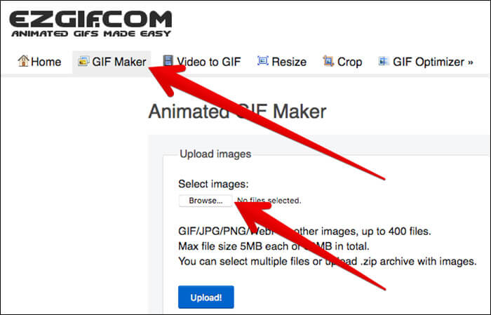 Click on GIF Maker and Browse File in EZGIF