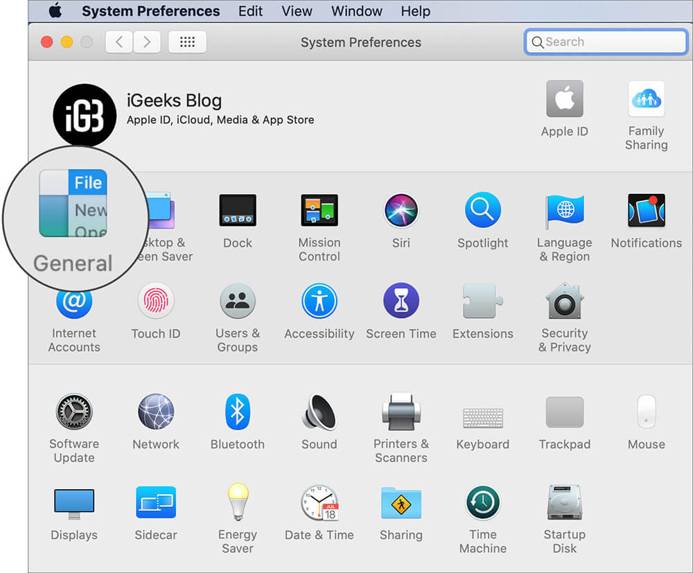 Click on General in System Preferences on Mac