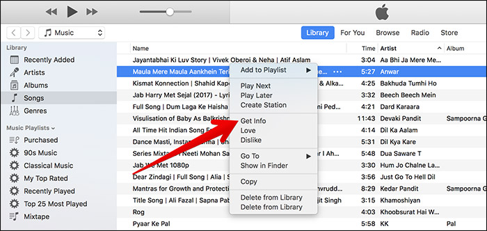 Click on Get Info in Song in iTunes on Mac or Windows PC