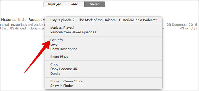 Click on Get Info on Podcast in iTunes
