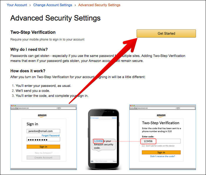 Click on Get Started in Amazon Security