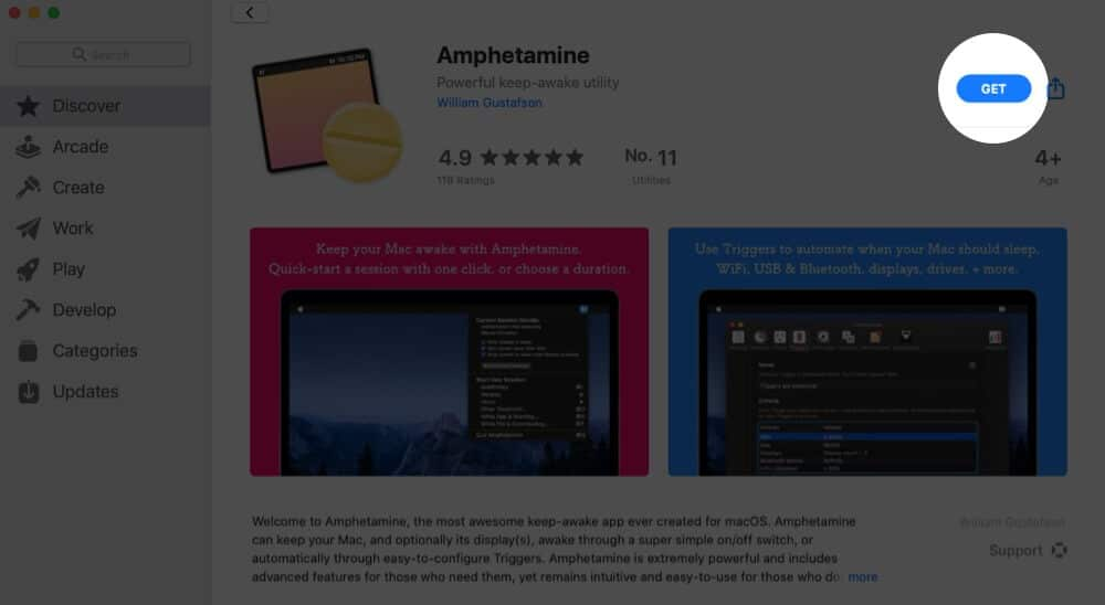 Click on Get to Download Amphetamine from Mac App Store