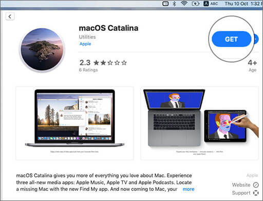 Click on Get to Download macOS Catalina on Mac