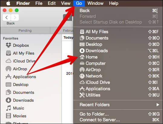 Click on Go Then Home in Finder on Mac