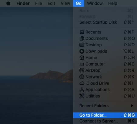 Click on Go and Select Go to Folder in Finder Menu on Mac