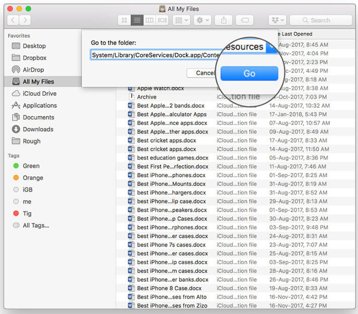 Click on Go by typing commands on Mac