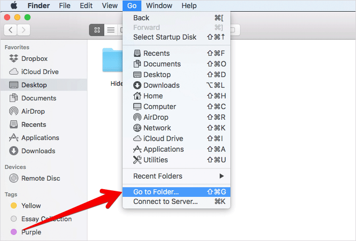 Click on Go to Folder in Finder on Mac