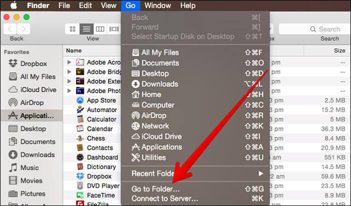 Click on Go to Folder on Mac