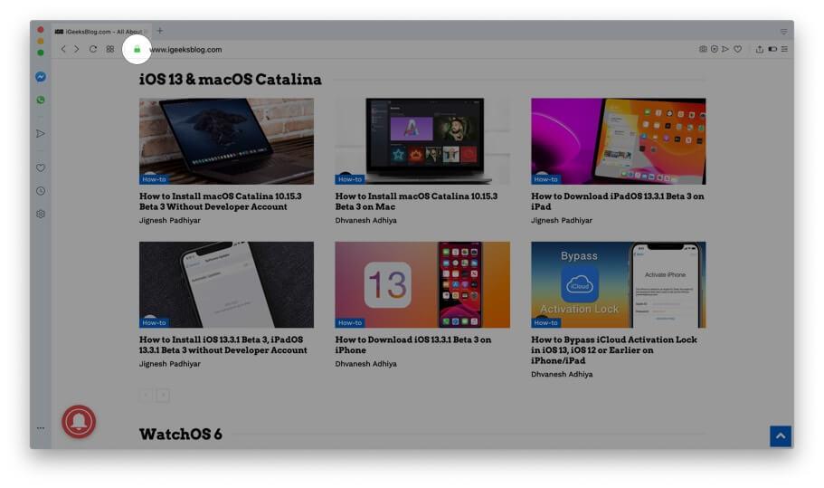 Click on Green Padlock icon in Opera on Mac