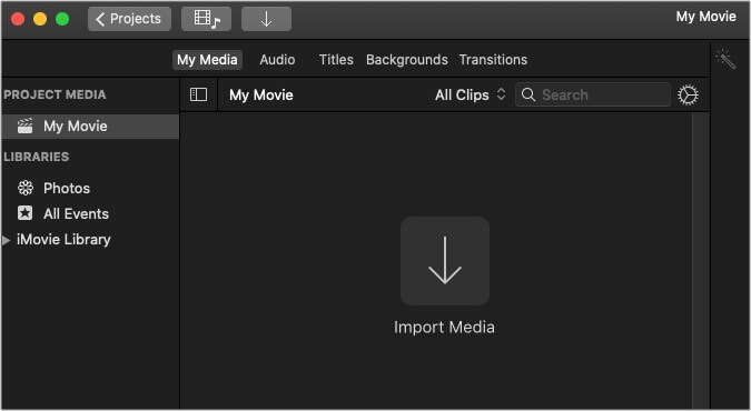 Click on Import Media button in My Media in iMovie on Mac