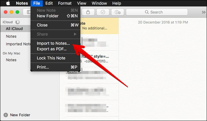 Click on Import to Notes in Notes App on Mac