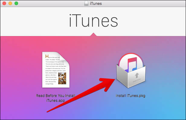 Click on Install iTunes.pkg on Mac